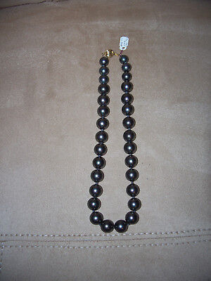 "Gorgeous Black Pearl's Necklace  16""   New Old Stock"