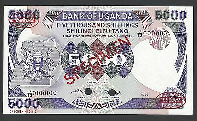Uganda 5000 shillings 1986 P24bs Specimen TDLR N1 Uncirculated