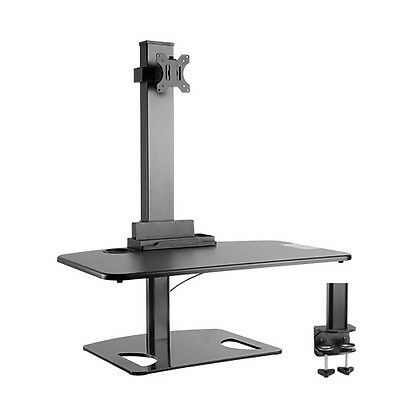 Premium Sit and Stand Station/Desk w/1-Arm Computer Monitor Mount,BK - 50% OFF!