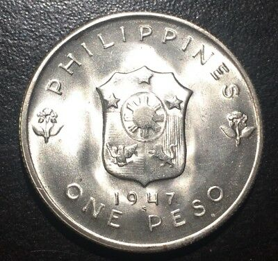 BU 1947S Philippines One Peso Silver Coins