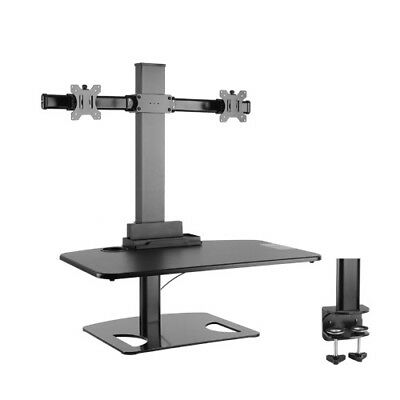 Premium Sit and Stand Station/Desk w/2-Arm Computer Monitor Mount,BK - 50% OFF!