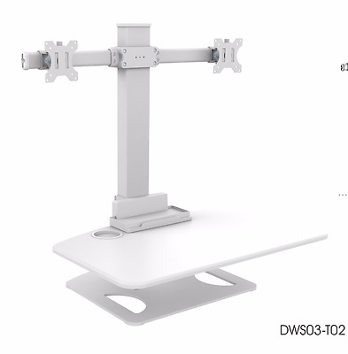 Brateck Sit and Stand Station/Desk w/2-Arm Computer Monitor Mount,WH - 50% OFF!