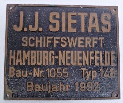 Marine Vintage Ship Nautical Brass Name Plate - Plaques - J. J. Sietas - B2