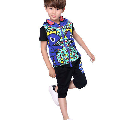 NABER Boys 3 Piece Outfit Vest Coat & T-Shirts & Elastic Shorts Set Age 4-12 yrs