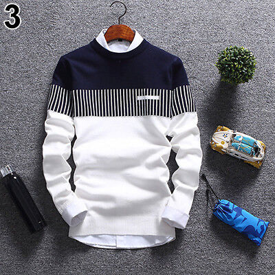 KE_Mens Fashion Strip Color Knitwear Jumper Pullover Sweater Tops Casual Clothes