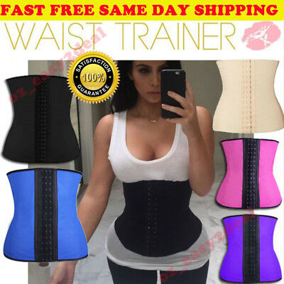 AU WAIST TRAINER Womens Hot Latex Cincher Corset Training Shapewear Shaper Fajas