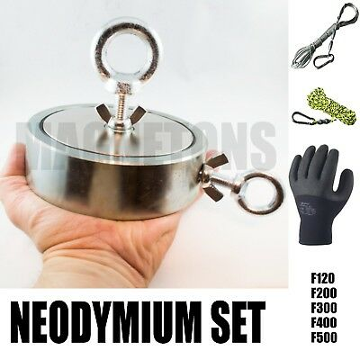 NEW Neodymium SUPER MAGNET METAL DETECTOR Fishing Recovery TREASURE + ROPE SET