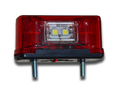 1 Red Led License Number Plate Marker Tail Lights Truck Motorhome Caravan Pickup