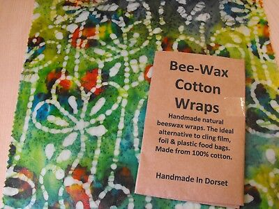Beeswax Wraps Natural Eco food wraps that fit your family's lifestyle 35 x 28cm