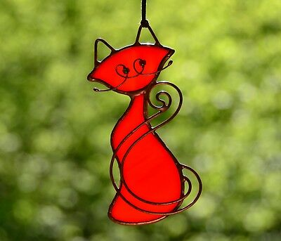 Cat suncatcher, cat ornaments, stained glass cat, cat lover gift, Tiffany cat