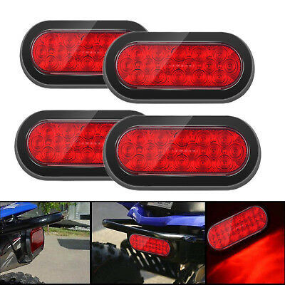 """4x LED RED 6"""" 4 Trailer Truck Lights Oval Stop Turn Tail Light  Marine"""