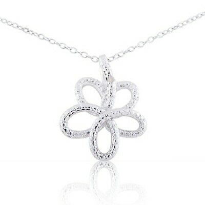 """Sterling Silver Rhodium Plated Diamond Accent Open Flower Pendant Necklace, 18"""""""