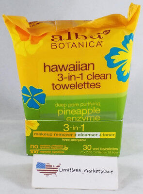 Alba Botanica - Hawaiian 3-in-1 Clean Towelettes - Deep Pore Purifying - 30 Ct