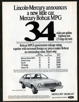 1975 MERCURY Bobcat MPG Vintage Original Print AD - White car art English Canada