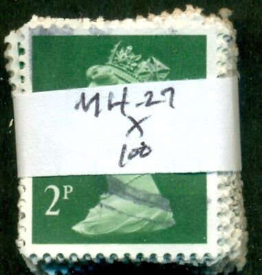 Great Britain Sg-X927, Scott # Mh-27 Machin, Used, 100 Stamps, Great Price!