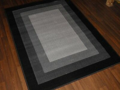 Modern Approx 6x4ft 120x170cm Woven Backed Rug Sale Top Quality Grey/Black panel