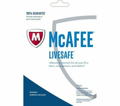 McAfee LiveSafe 2020 Unlimited Devices / 1 Year Antivirus