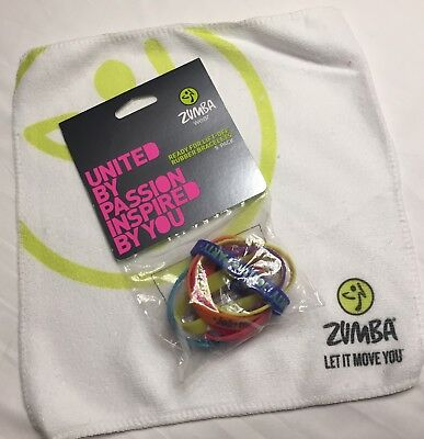 Zumba NEW 8 Rare BRACELETS, Towel set lot Hard To Find NWT Ready For Lift Off