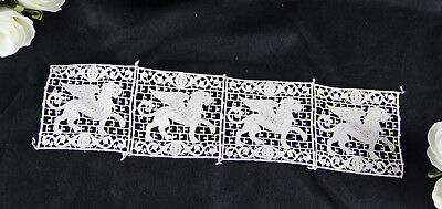 Handmade 19thc Brussels lace Ruban table underlay gothic dragon chimaera  rare