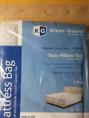 Twin Size PILLOW TOP Mattress Storage Bag Cover Protector For Moving PLASTIC