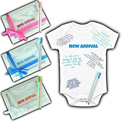 Baby Shower Keepsake Personalised Gift Box Custom Game Baby Grow Vest Maternity
