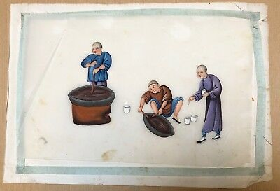 Antique 19ThC Chinese Painting on Rice Paper Opium Poppy