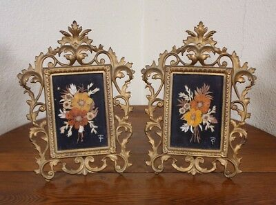 A Cast Iron Frames Pair Vtg Antique Gold Dried Flower Picture Easel Ornate