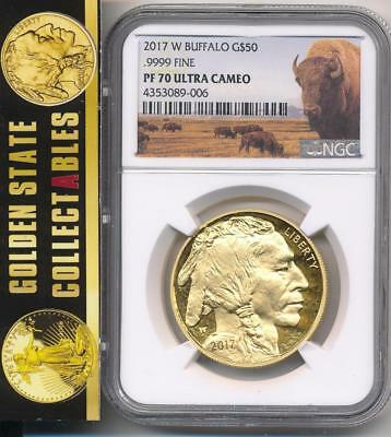 2017 W $50 Proof Gold Buffalo Ngc Pf70 Ultra Cam  Bison  Label Lowest Mintage!!