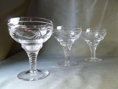 3 Antique Stuart Crystal Champagne Glasses , Art Deco, Signed,