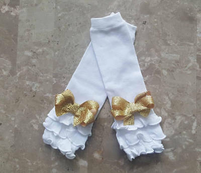 Adorable White Cotton Ruffled Leg Warmers with gorgeous gold glitter bows