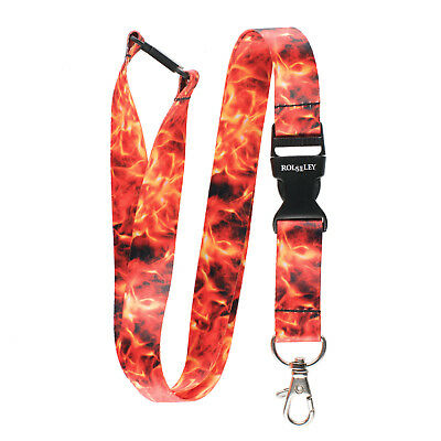 Multicolour FLAMES / FIRE Lanyard Neck Strap With Card/Badge Holder or Key Ring