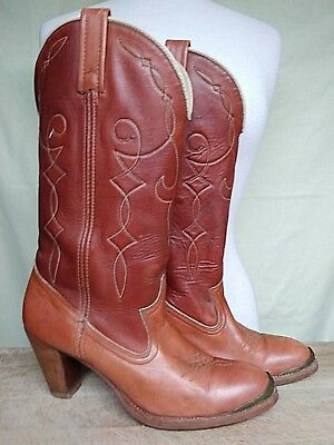 80b16216be4ba VINTAGE CAPEZIO USA Made Stacked Heel WESTERN COWBOY Cowgirl BOOTS ...