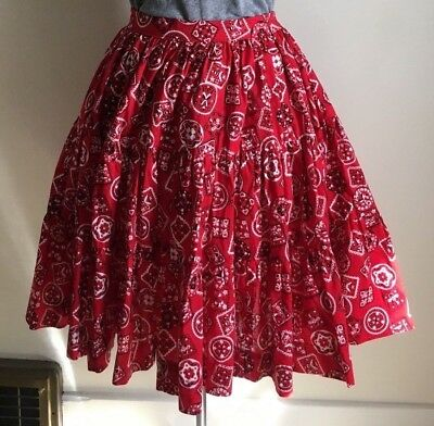 Vintage Tiered Circle Skirt 1960s Bandana Square Dance Cowgirl Red Med 28 Waist