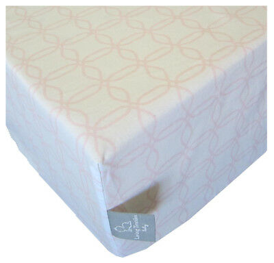 NEW Living Textiles Jersey FITTED CRIB SHEET - Pink Links - 100% Cotton