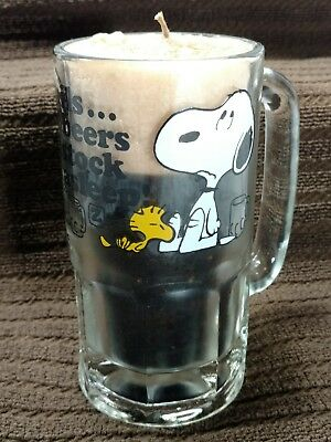 Vintage Snoopy Woodstock Root Beer Mug 1965 With Root Beer Like Candle