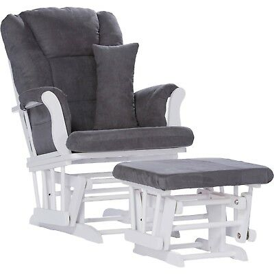 Glider Rocker And Ottoman Nursery Rocking Chair W Lumbar Cushion Pillow White
