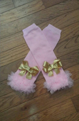 Adorable Pink Chiffon Ruffled Leg Warmers with gorgeous gold glitter bows