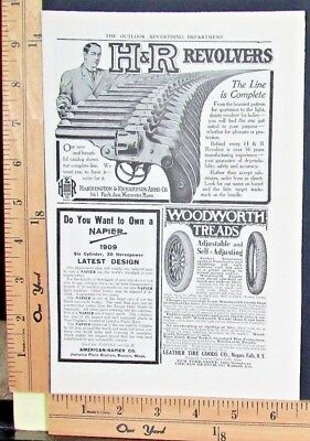 1909 HARRINGTON & RICHARDSON ARMS revolver pistol handgun gun Vtg Print Ad 9178