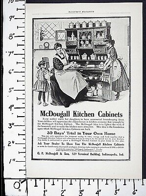 1906 McDOUGALL kitchen cabinets Vtg Print Ad Indianapolis IN home decor 6578