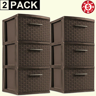 3 Drawer Storage Cabinet Tower Weave Organizer Plastic Espresso Cart Set of 2  sc 1 st  PicClick & 3 DRAWER ORGANIZER Tower 2x Weave Plastic Espresso Storage Box Cart ...