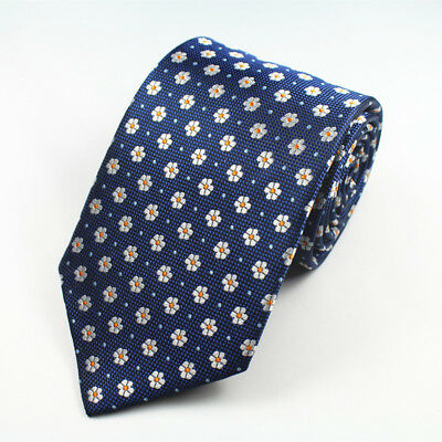 Blue White and Yellow Flower Patterned Handmade 100% Silk Tie 8cm Width