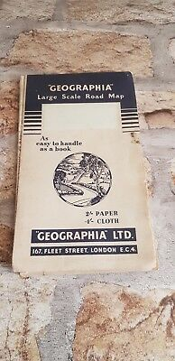 Geographia Large Scale Road Map South Devonshire Vintage Road Map Old TBLO