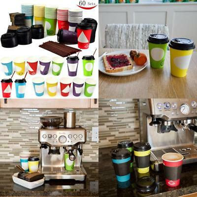 60 Pack 12oz Disposable Paper Coffee Cups with Lids , To Go Coffee Cups