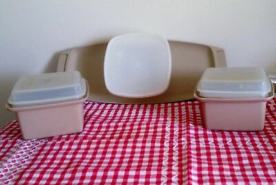 Vintage tupperware beige Chip n dip, two square butter/ jam/ honey containers