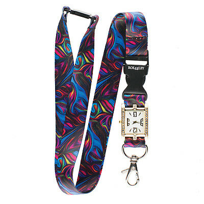 COLOUR STREAM ABSTRACT Lanyard integrated NURSE FOB WATCH Beautiful Neck Strap