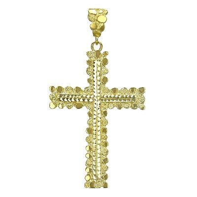 14k Yellow Gold Diamond Cut Nugget Cross Pendant Religious Charm 15g