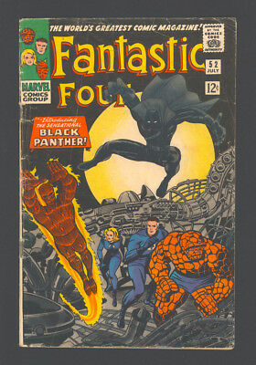 "FANTASTIC FOUR #52 ""1966"". 1st App. of The BLACK PANTHER! Art by Jack Kirby."