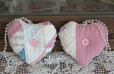 Antique Quilt Hearts Sachet Hanging Ornaments with organic lavender two