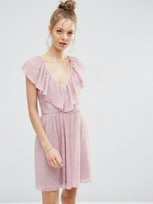Asos Pink Party Dress with Frills size 10 NWT