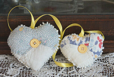 Antique Quilt Hearts Sachet Hanging Ornaments with organic lavender two a